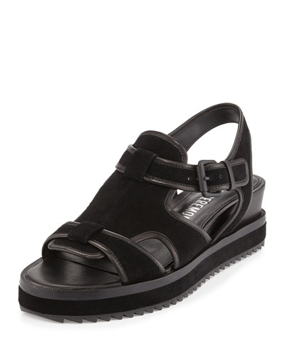 Flat Leather Grunge Sandal, Black