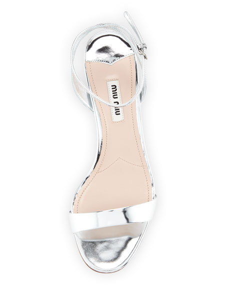 Metallic Block-Heel Sandal, Silver