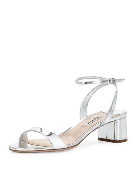 608380a2956ef Miu Miu Metallic Block-Heel Sandal