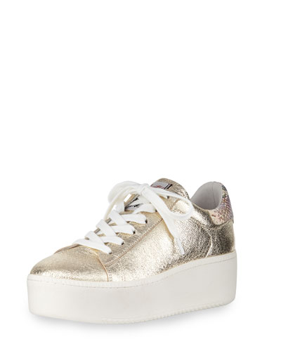 Cult Studded Double-Platform Trainer Sneaker, Silver