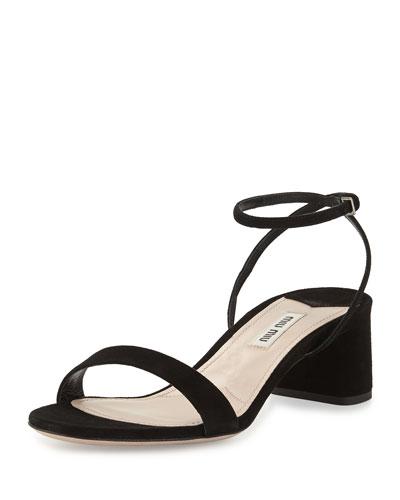 Suede 45mm Ankle-Wrap Sandal, Black (Nero)