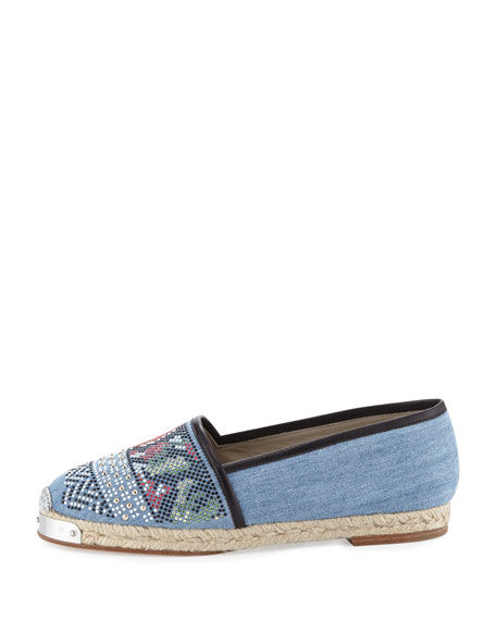 Embellished Denim Flat Espadrille, Blue/Multi