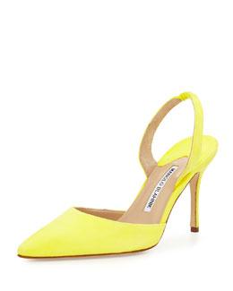 Carolyne 90mm Suede Halter Pump, Yellow