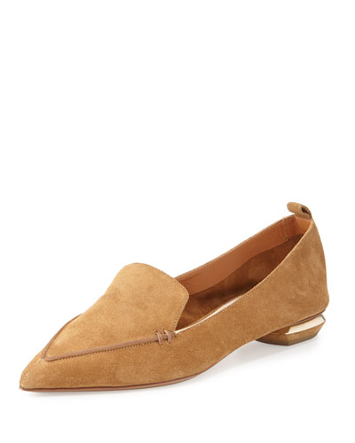 Beya Suede Point-Toe Loafer, Hazel