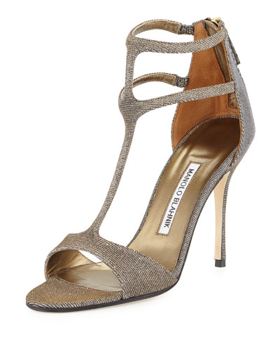 Cellin Metallic Fabric Strappy Sandal, Bronze