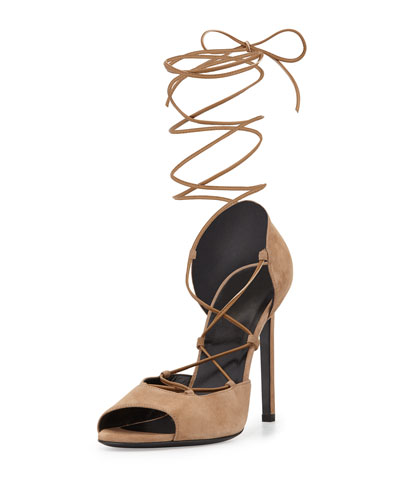 Kate Suede Lace-Up d'Orsay Pump, Chamois