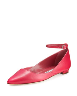 Rima Ankle-Strap Leather Flat, Pink