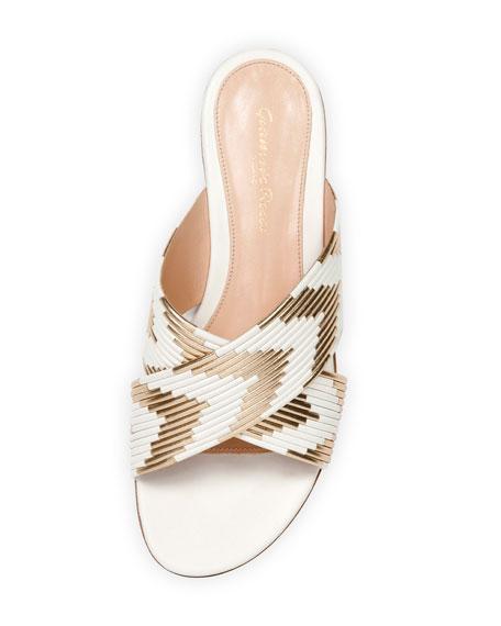 Chevron-Striped Flat Sandal Slide, Off White