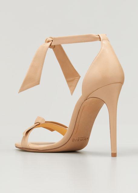 Clarita Leather Ankle-Tie 100mm Sandal, Tan