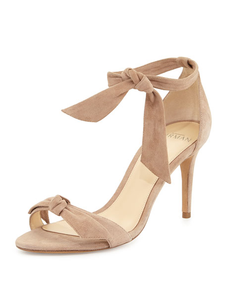 ALEXANDRE BIRMAN Clarita Leather Ankle-Tie Sandals in Nude Soft Leather