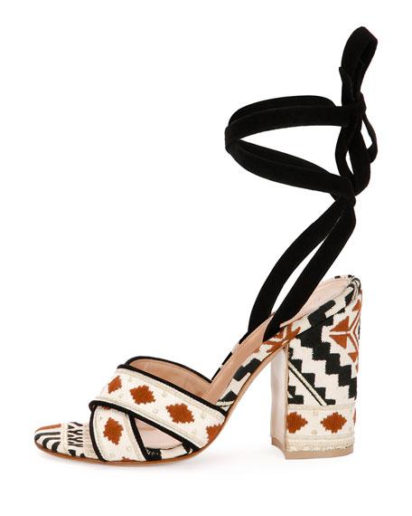 Geometric-Print Ankle-Wrap Sandal, Brown/White
