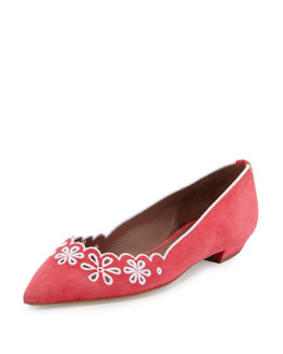 Daisy Chain Laser-Cut Suede Skimmer Flat, Red
