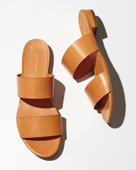 Leather Double-Strap Slide Sandal, Camello
