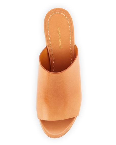 Leather 110mm Mule Sandal, Camel