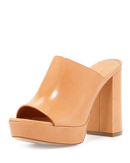 Leather 110mm Mule Sandal, Camel