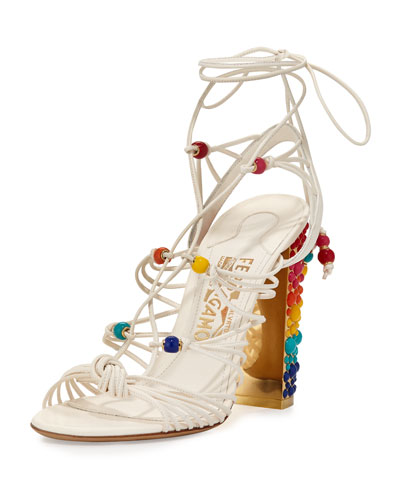 Rainbow-Studded Leather Gladiator Sandal, White/Multi