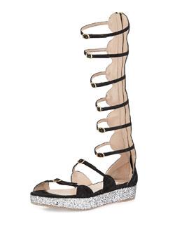 Caged Suede Glitter-Platform Sandal, Black