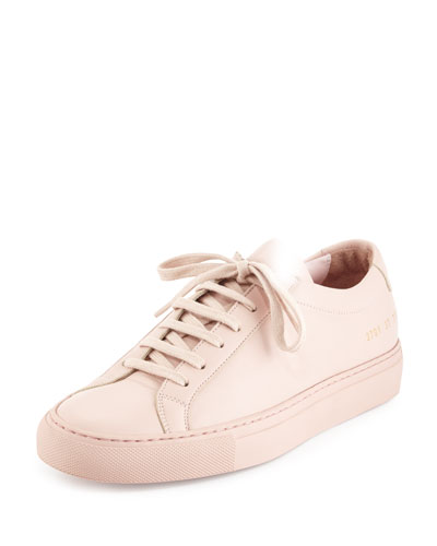 Achilles Leather Low-Top Sneaker, Blush