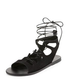 Antigone Gladiator Lace-Up Flat Sandal, Black