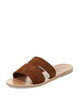 Apteros Double-Band Flat Slide Sandal, Tobacco