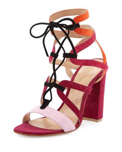 Colorblock Lace-Up Block-Heel Sandal, Pink/Multi