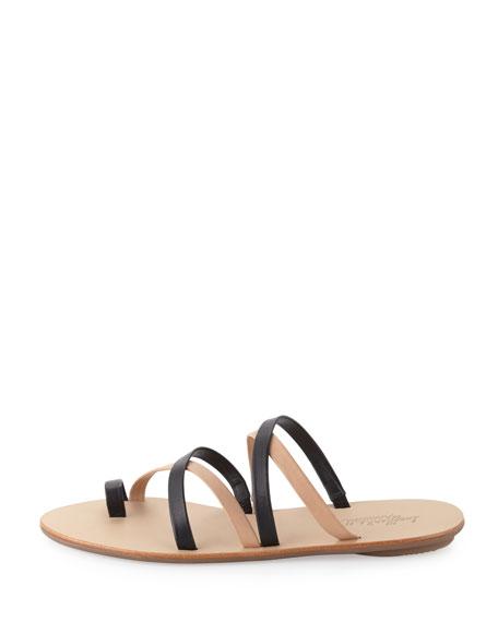 Sarie Bicolor Leather Sandal Slide, Black/Buff
