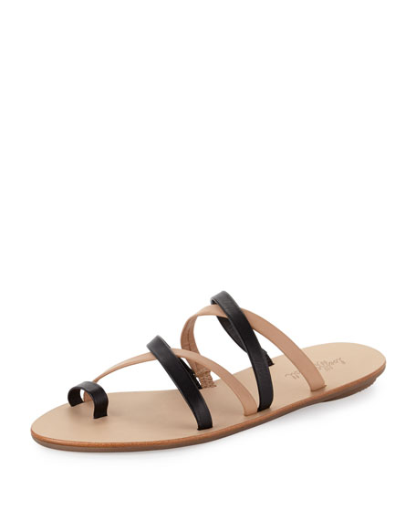 Sarie Bicolor Leather Sandal Slide, Black/Buff