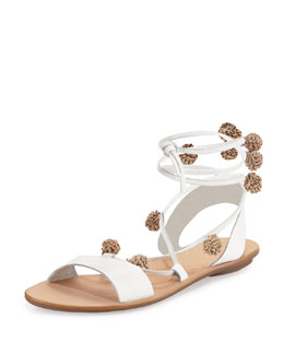 Saskia Flat Pompom Gladiator Sandal, White/Silver/Gold