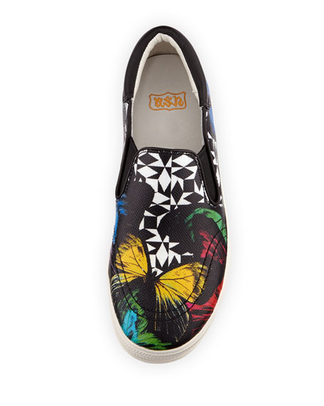 Jam Butterfly-Print Leather Sneaker, Multi