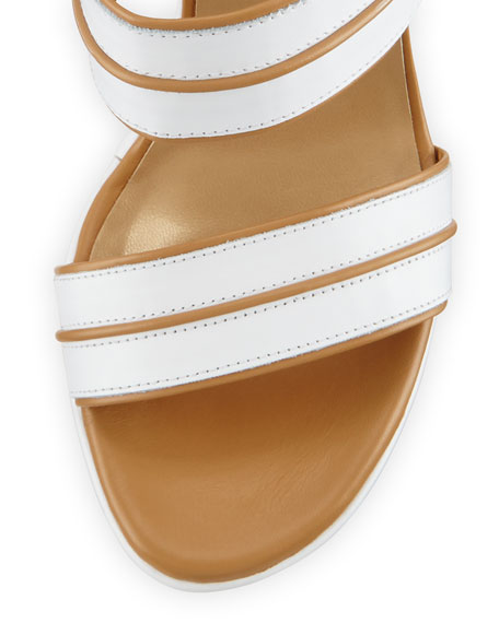 Abandon Leather Ankle-Wrap Wedge Sandal, White/Tan