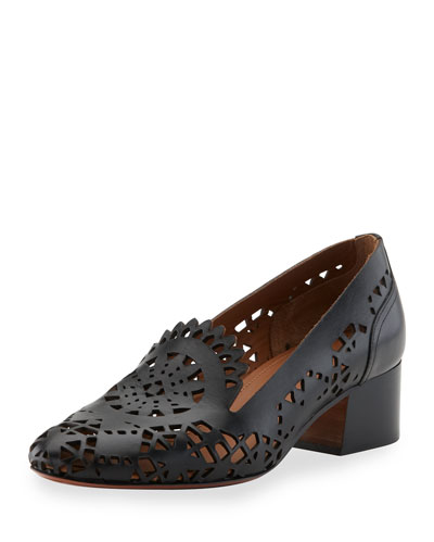 Kelby Laser-Cut Leather Loafer, Black