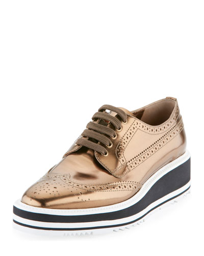 Metallic Leather Microsole Lace-Up, Bronze