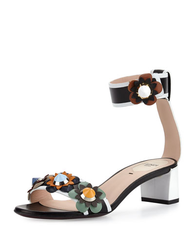 Flowerland Colorblock Leather Sandal, Black/Optic White