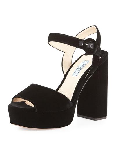 Velvet Platform Block-Heel Sandal