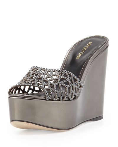Tressor Laser-Cut Crystal-Leather Platform Sandal Slide, Black