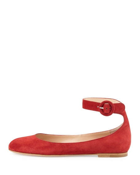 Suede Ankle-Strap Ballerina Flat