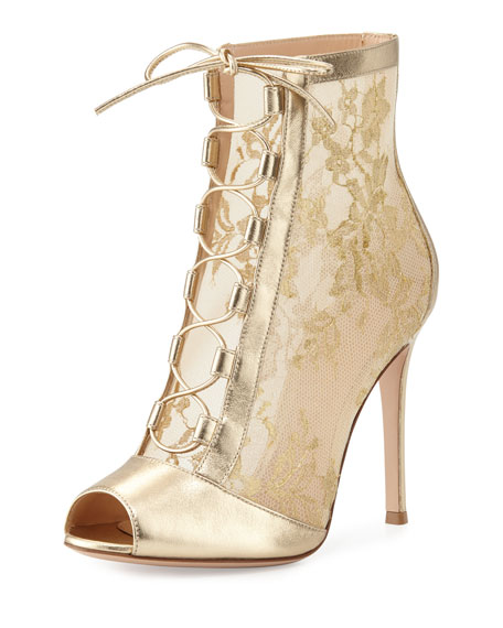 Chantilly Lace Tie-Front Bootie, Gold