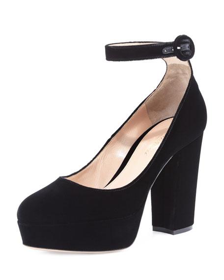 Velvet Platform Ankle-Strap Pump, Black