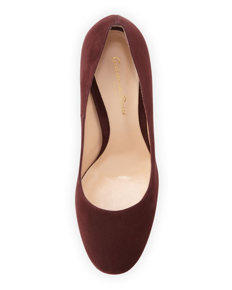 Suede Chunky-Heel 85mm Pump, Royal Burgundy