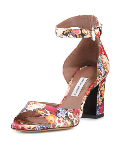 Jerry Leather Ankle-Strap Sandal, Multi