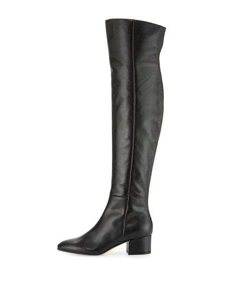 Seamed Leather Over-the-Knee Boot, Black