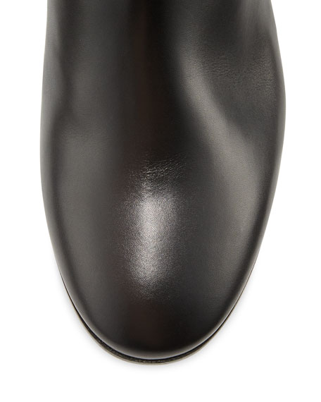 Seamed Leather Over-the-Knee Boots, Black