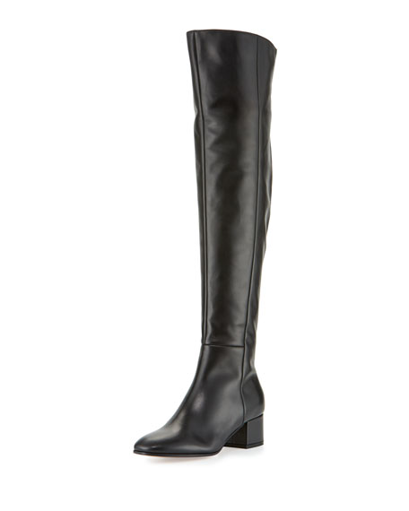 Gianvito Rossi Seamed Leather Over-the-Knee Boot, Black