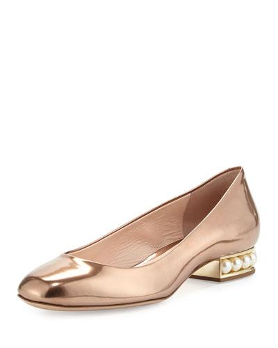 Casati Metallic Pearly Ballerina Flat, Nude