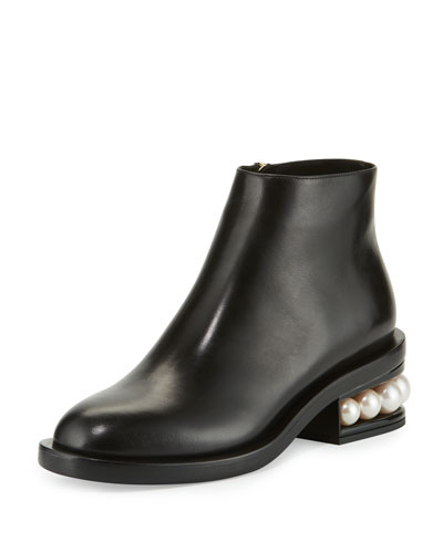 Casati Pearl-Heel Ankle Boot, Black