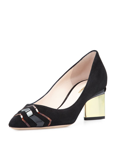 Prism Suede 55mm Pump, Black/Tortoiseshell