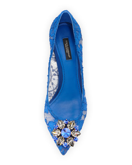Jewel-Embellished Lace Pump, Blu