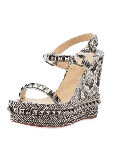 3cbd4947305 Cataclou Studded Snakeskin Red Sole Wedge Sandals