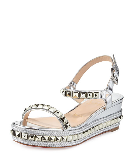 cheaper e8405 5af31 Cataclou Metallic Studded Red Sole Sandal Silver