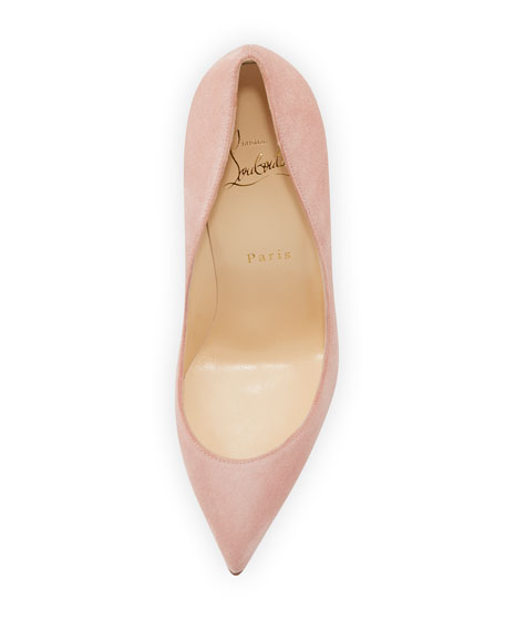 Pigalle Follies Suede Red Sole Pump, Ronsard Pink
